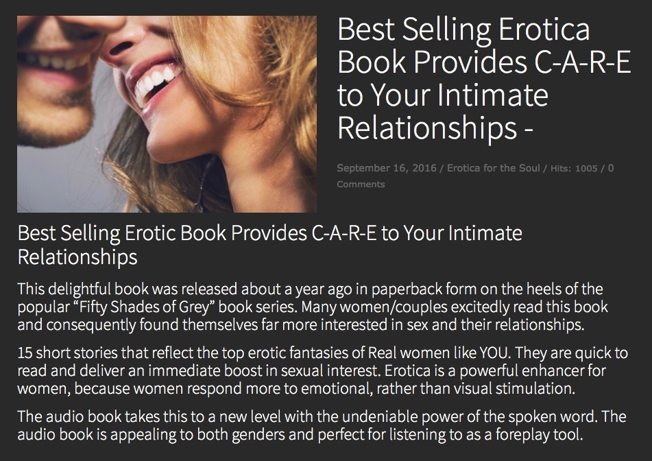 Best Selling Erotica Book Provides CARE to Your Intimate Relationships